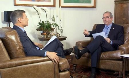 Cunha na entrevista à TV Globo e ao Portal G1 (Foto: Reprodução/Imagem transmitida pela TV Globo)