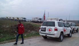 Comboio da Cruz Vermelha com alimentos e medicações chega a cidade sitiada de Madaya, na Síria (Foto: Cruz Vermelha)