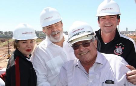 Lula, Andrés Sanchez, ex-presidente do Corinthians e Emílio Odebrecht. (Foto: Reprodução)