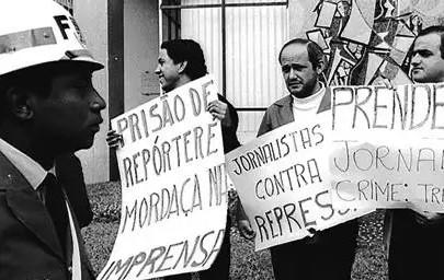 Jornalistas em protesto no período da ditadura (Foto: Reprodução)