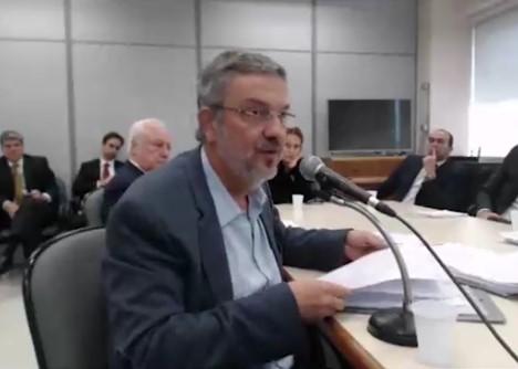Palocci presta depoimento ao juiz Sérgio Moro . (Foto: Reprodução/YouTube)