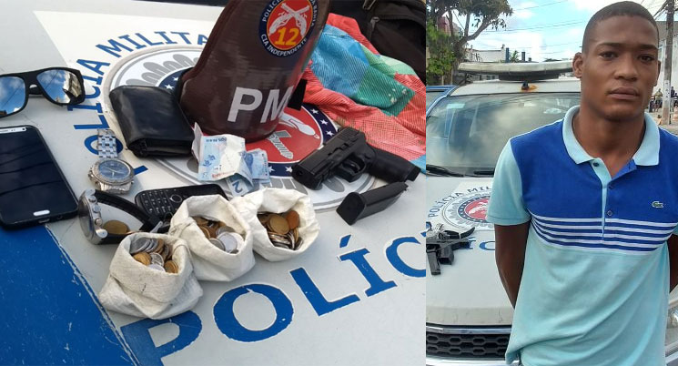 Flagrado no último sábado (29) com drogas, Jovonílson Santos da Silva, 20 anos, foi preso novamente na manhã desta terça-feira (1º), após assaltar um ônibus, em Ondina. (foto: SSP/Divulgação)