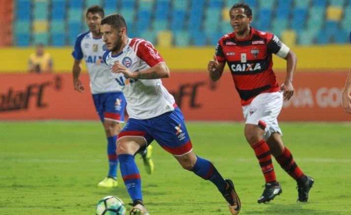 Zé Rafael marcou o gol de empate do Bahia (Foto:  Sebastião Nogueira/O Popular/Reprodução)