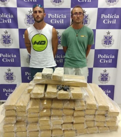 Os irmãos Tiago e Felipe Tadeu Santana Fazzio Carvajalforam presos  transportando 60 quilos de maconha. (Foto: SSP/Divulgação)