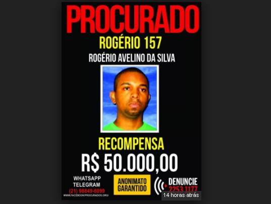 Prêmio para quem informar sobre Rogério 157 sobe para R$ 50 mil.