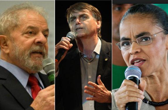 Lula, Bolsonaro e Marina lideram pesquisa Datafolha.
