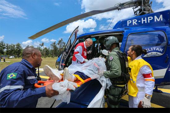 O treinamento envolveu mais de 150 técnicos, brigadistas e profissionais da área médica, 30 viaturas de combate a incêndio, 20 ambulâncias. (Foto: Divulgação)